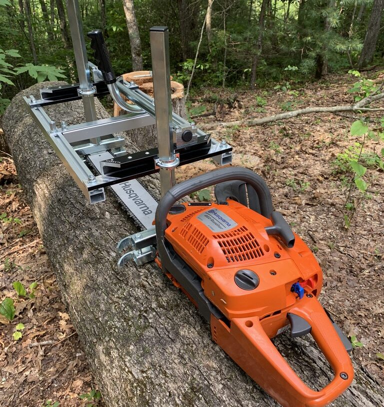 Learning to use the Alaskan mill and setting up the Lumbersmith